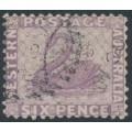 AUSTRALIA / WA - 1883 6d lilac Swan, perf. 12, sideways crown CA watermark, used – SG # 85w