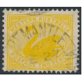 AUSTRALIA / WA - 1903 2d yellow Swan, perf. 12½, upright V crown watermark, offset on back, used – SG # 118a