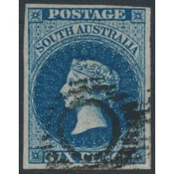 AUSTRALIA / SA - 1855 6d deep blue Queen Victoria (London printing), used – SG # 3