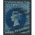 AUSTRALIA / SA - 1879 6d bright blue QV, perf. 10, broad star watermark, used – SG # 136