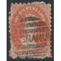 AUSTRALIA / TAS - 1864 1d brick-red Chalon, perf. 10, '1' watermark, used – SG # 57