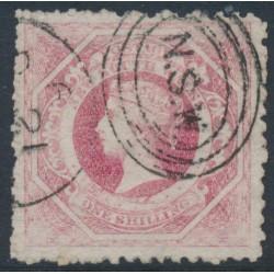 AUSTRALIA / NSW - 1860 1/- rose-carmine Diadem, perf. 12:12, '12' watermark, used – SG # 153
