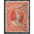AUSTRALIA / QLD - 1886 2/6 vermillion Large Chalon, thick paper, used – SG # 158