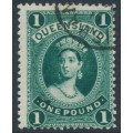 AUSTRALIA / QLD - 1886 £1 deep green Large Chalon, thick paper, used – SG # 161