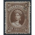 AUSTRALIA / QLD - 1895 10/- brown Large Chalon, thin paper, used – SG # 164