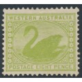 AUSTRALIA / WA - 1912 8d apple-green Swan, perf. 12½, sideways crown A watermark, MH – SG # 144