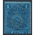 AUSTRALIA / VIC - 1884 1/- deep blue on blue STAMP DUTY, perf. 12, sideways V crown watermark, used – SG # 256