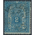 AUSTRALIA / VIC - 1884 2/- deep blue on green STAMP DUTY, perf. 12, sideways V crown watermark, used – SG # 258a