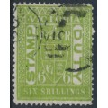 AUSTRALIA / VIC - 1899 6/- yellow-green STAMP DUTY, perf. 12½, upright V crown watermark, used – SG # 348
