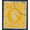 AUSTRALIA / VIC - 1901 1/- yellow Queen Victoria without POSTAGE, CTO – SG # 381