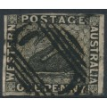 AUSTRALIA / WA - 1854 1d black Swan, imperforate with swan watermark, used – SG # 1
