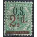 AUSTRALIA / SA - 1894 2½d on 4d deep green QV, perf. 10:10, o/p OS, used – SG # O71