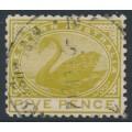 AUSTRALIA / WA - 1909 5d olive-green Swan, perf. 12½, sideways crown A watermark, used – SG # 143a