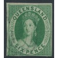 AUSTRALIA / QLD - 1860 6d green QV Chalon, imperf. with large star watermark, used – SG # 3