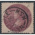 AUSTRALIA / NSW - 1897 5/- reddish purple Coin, perf. 12:12, '5/-' watermark, used – SG # 297d