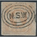 AUSTRALIA / NSW - 1854 1/- pale red Diadem, imperforate with '12' watermark, used – SG # 101