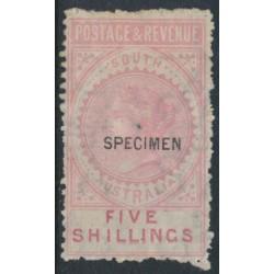 AUSTRALIA / SA - 1886 5/- rose Long Tom o/p SPECIMEN, MH - SG # 196as