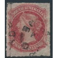 AUSTRALIA / SA - 1867 2/- rose-carmine Queen Victoria, rouletted, used – SG # 43