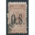 AUSTRALIA / SA - 1895 ½d pale brown Queen Victoria, crown SA watermark, o/p O.S., used – SG # O65