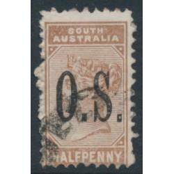 AUSTRALIA / SA - 1895 ½d pale brown Queen Victoria, crown SA watermark, o/p O.S., used – SG # O65