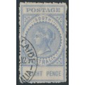 AUSTRALIA / SA - 1909 8d bright ultramarine Long Tom, thick POSTAGE, crown A watermark, perf. 12½, used – SG # 301