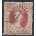AUSTRALIA / QLD - 1861 1d carmine-rose QV Chalon, small star watermark, perf. 14 (rough), used – SG # 14