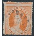 AUSTRALIA / QLD - 1865 1d orange-vermilion QV Chalon, small star watermark, perf. 13, used – SG # 44