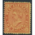 AUSTRALIA / WA - 1911 2/- brown-red/yellow QV, perf. 12½, upright V crown watermark, MH – SG # 124c
