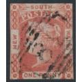 AUSTRALIA / NSW - 1852 1d scarlet Laureates, imperf., bluish medium wove paper, used – SG # 46