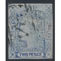 AUSTRALIA / NSW - 1851 2d ultramarine Laureates, imperf., plate I, used – SG # 52