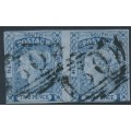 AUSTRALIA / NSW - 1851 2d dark blue Laureates, horizontal pair, imperf., plate I, used – SG # 54