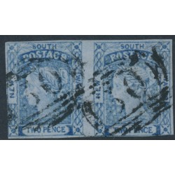 AUSTRALIA / NSW - 1851 2d dark blue Laureates, horizontal pair, imperf., plate I, used – SG # 54