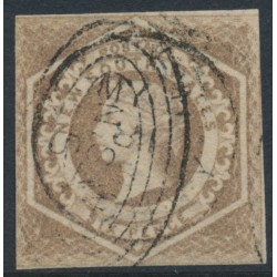 AUSTRALIA / NSW - 1859 6d fawn Diadem, imperforate, '8' watermark, used – SG # 93a
