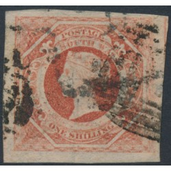 AUSTRALIA / NSW - 1854 1/- rosy vermillion Diadem, imperforate, '12' watermark, used – SG # 99