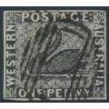 AUSTRALIA / WA - 1854 1d black Swan, imperforate FORGERY