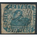 AUSTRALIA / WA - 1854 4d deep blue Swan, imperforate with swan watermark, used – SG # 3b