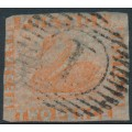 AUSTRALIA / WA - 1860 2d pale orange Swan, imperforate with swan watermark, used – SG # 24