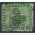 AUSTRALIA / WA - 1865 1/- bright green Swan, perf. 12½, upright crown CC watermark, used – SG # 61