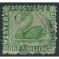 AUSTRALIA / WA - 1865 1/- bright green Swan, perf. 12½, upright crown CC watermark, used – SG # 61