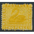 AUSTRALIA / WA - 1865 2d chrome-yellow Swan, perf. 12½, upright crown CC watermark, MH – SG # 54