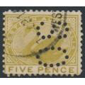 AUSTRALIA / WA - 1905 5d pale olive-bistre Swan, perf. 12½, sideways crown A watermark, perf. OS, used – SG # 143