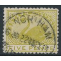 AUSTRALIA / WA - 1909 5d olive-green Swan, perf. 12½, sideways crown A watermark, used – SG # 143a