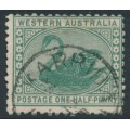 AUSTRALIA / WA - 1910 ½d green Swan, perf. 12½, sideways crown A watermark, used – SG # 138
