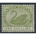 AUSTRALIA / WA - 1890 1/- olive-green Swan with crown CA watermark, MH – SG # 102