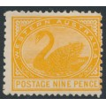 AUSTRALIA / WA - 1906 9d orange Swan, perf. 12½, sideways crown A watermark, MH – SG # 145