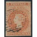 AUSTRALIA / SA - 1858 2d pale orange-red Queen Victoria (Adelaide printing), used – SG # 7