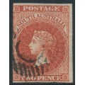 AUSTRALIA / SA - 1856 2d red Queen Victoria (Adelaide printing), used – SG # 9