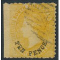 AUSTRALIA / SA - 1870 TEN PENCE in black on 9d yellow QV, perf. 10:11½, large star watermark, used – SG # 107