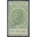 AUSTRALIA / SA - 1908 10/- green Long Tom, thick POSTAGE, crown SA watermark, used – SG # 291