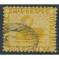 AUSTRALIA / WA - 1883 1d yellow-ochre Swan, perf. 12:14, crown CA watermark, used – SG # 81